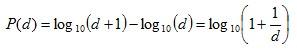 Benford's Distribution Formula