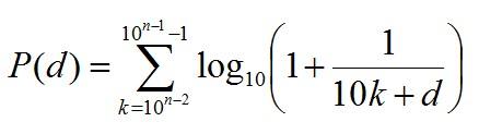 Generalised Benford's Distribution Formula