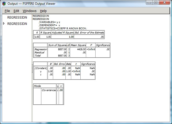 PSPP output window